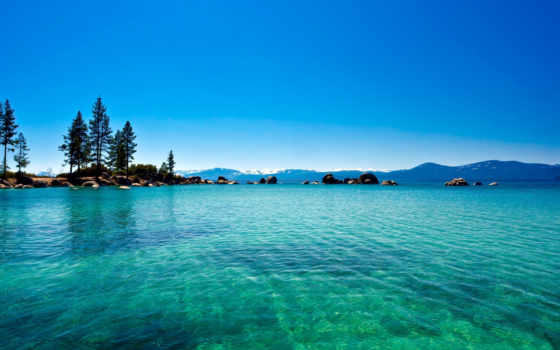 озеро, вода, природа, лес, tahoe, california, голубая,