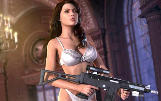 девушка, тело, оружие