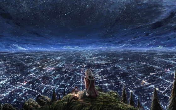 город, ночь, небо