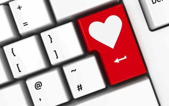 интернет, amor, por, enter, para, los, pareja, клавиатура, una,