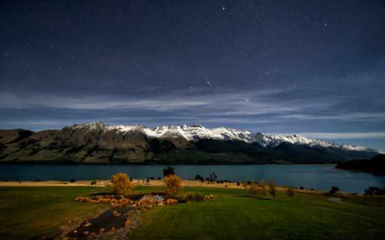 новая, zealand, озеро, горы, new, природа, wakatipu, небо,