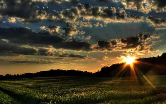 paisajes, pantalla, campo, paisaje, fondos, fondo, del, puesta, naturaleza,