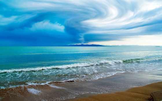 волна, пляж, песок, широкоформатные, summer, море, закат, desktopwallpape, картинок, коллекция,