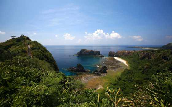 море, остров, зелёный, дек, wild, ocean, taiwan, риф, summer, water,