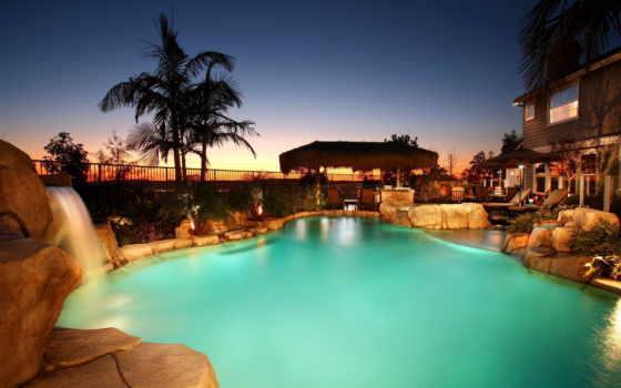 бассейн, house, лежаки, джакузи, камни, водопад, пальмы, красивые,