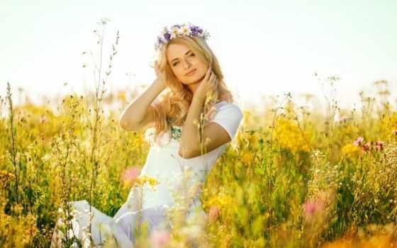 поле, девушка, русская, blonde, свет, голубые, красавица,