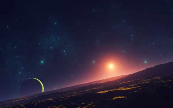 planet, star, earth, celestial, event, blue, sun, горизонт, black, illustration