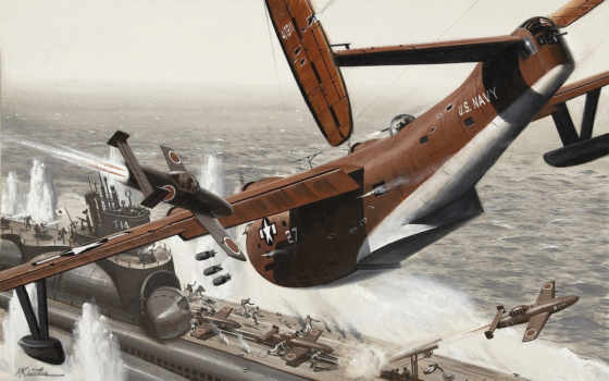 море, самолёт Фон № 21235 разрешение 2560x1600