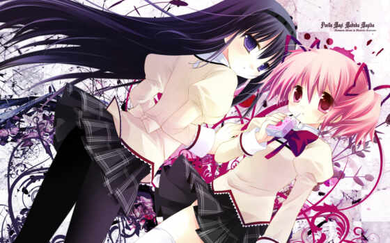 madoka, mahou, shoujo, magica, hair, akemi, pink, anime, kaname, girls, homura, purple,
