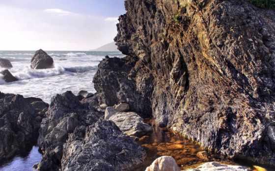 брызги, природа, берег