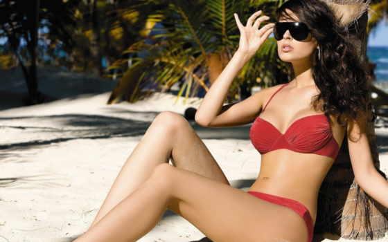 очки, девушка, бикини, купальник, море, red, солнцезащитные, пляж,