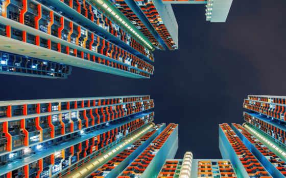 небоскребы, земли, гонконге, hong, futuristic,,