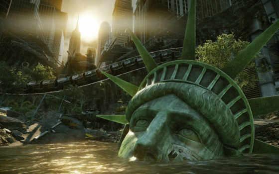 свободы, crysis, статуй, разруха, красивые, февр,