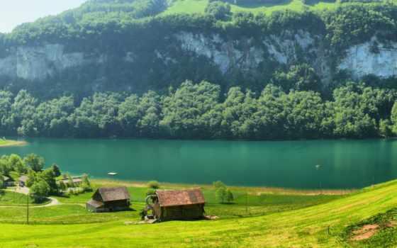 горы, swiss, швейцария, домики, река, гор, поляна, трава, trees, fone, природа,