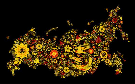 хохлома, fone, золотая, черном, красном, золотистом, выполненном, рисунке, промыслы, народные, золотистый,