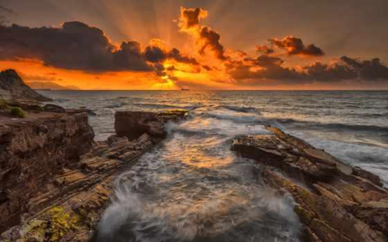 закат, rocks, природа, категория, landscape, море,