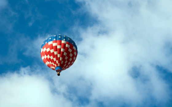 шар, воздушный, небо, спорт, with, balloon, flag, balloonists,