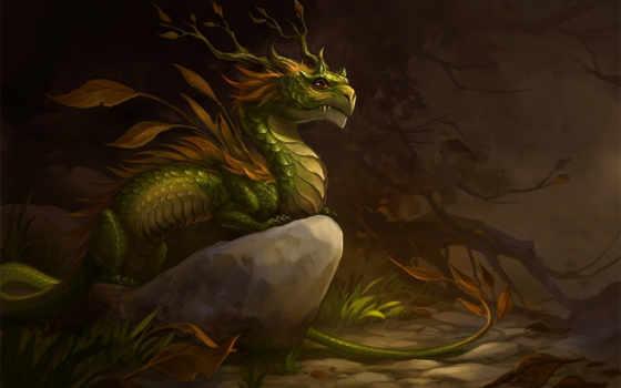 дракон, лес, листья