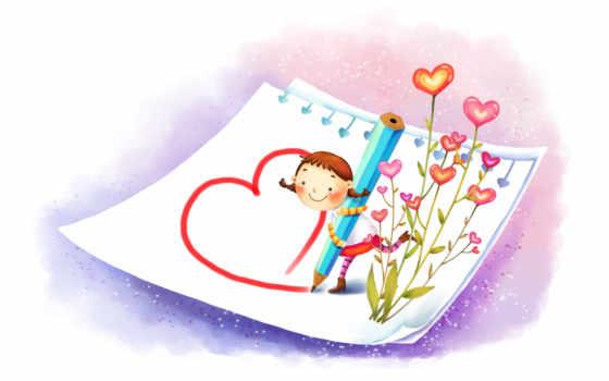 нарисованные, девочка, рисование, карандаш, цветы, сердечки, лист, радость