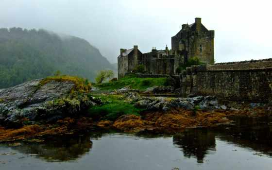 шотландия, замок, эйлен, донан, горы, water, камни,