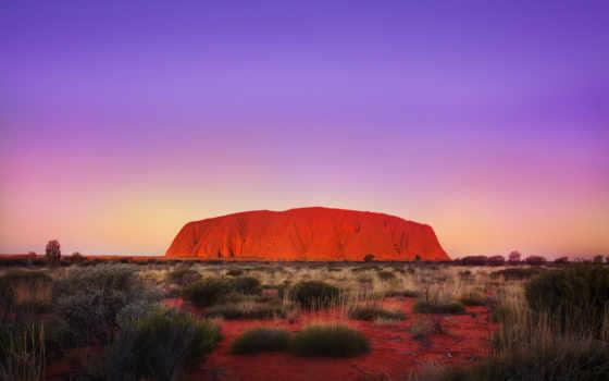 улуру, rok, пустыня, коричневая, айерс, австралия, скала, оранжево,