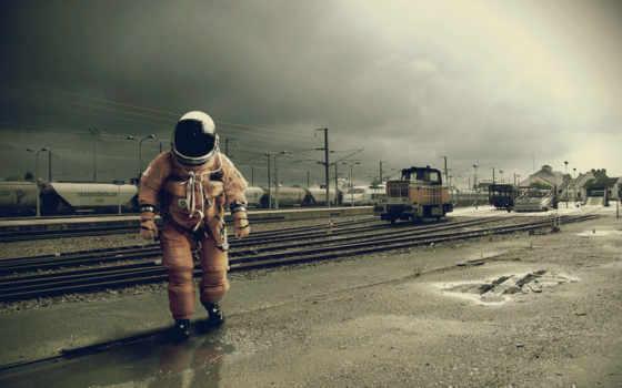 астронавт, surreal, сенбернар