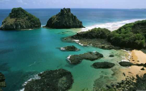 природа, красивые, noronha, бразилии, фернандо, берег, достопримечател, bay, количество, пляж, brazilian,