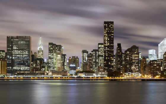 ночь, york, new, manhattan, cities, united, states, noc,