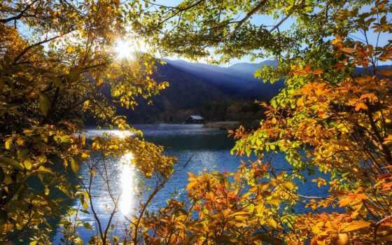 nikko, japanese, тотиги, озеро, trees, горы, rays, sun, японии,