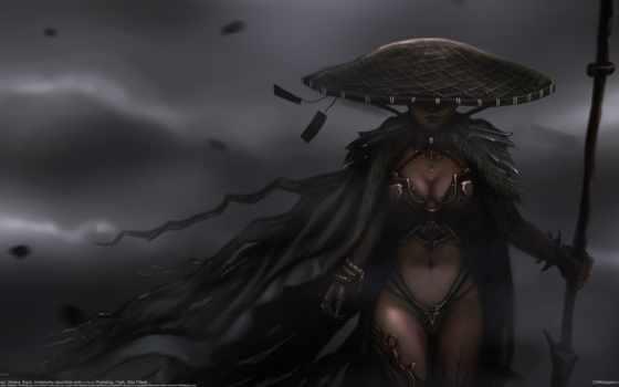 девушка, art, spear, рисунок, devushki, плащ, воин, шляпа,