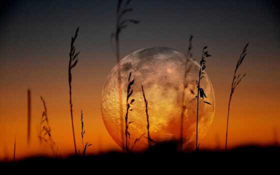 луна, силуэт, full, закат, фон, красивый, свет, космос, stranicahoroshii, биг, universe