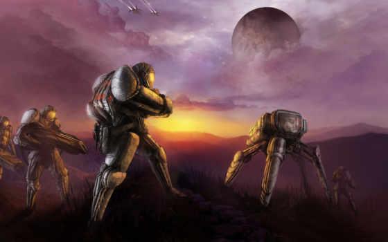 фантастика, robot, art, planet, люди, оружие, военные, роботы, корабли,