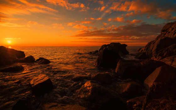 море, закат, камни Фон № 40336 разрешение 1920x1200