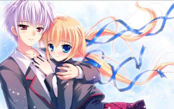девушка, anime, парень
