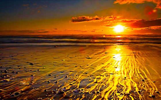 пляж, закат