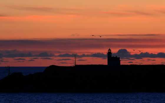 ocean, закат, lighthouse, seagulls, birds, птица, море, desktop,