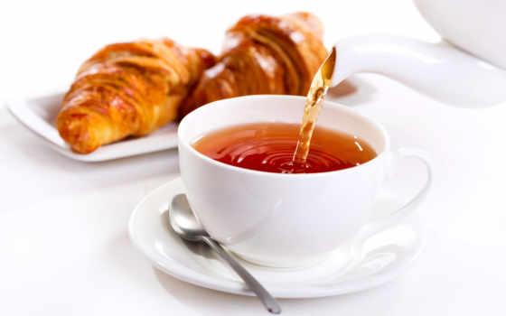 чая, завтрак, cup, утро, круассаны, stock, images, photos,