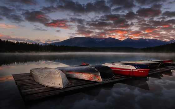 небо, биг, boats, canvas, озеро, clouds, size, mountains, стена, art,