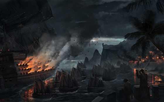 fantasy, корабли, море, art, sels, bram, бой, парусники, битва, пальмы,