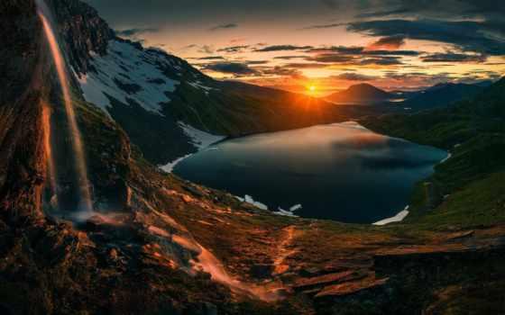 гора, красивый, природа, корабль, закат, озеро, game