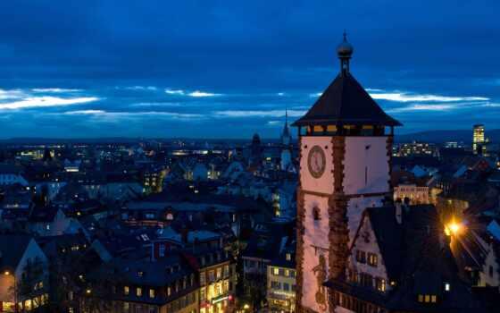 freiburg, огни, mobile, панорама, германия, ночь, картинка, württemberg, баден, башня
