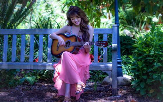 девушка, гитара, play, скамейка, pretty, pin
