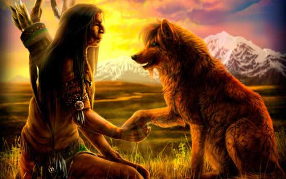 собака, индеец, закат, дикая, стрелы, поле, перья, горы, картинка, images, картинку, native, art,