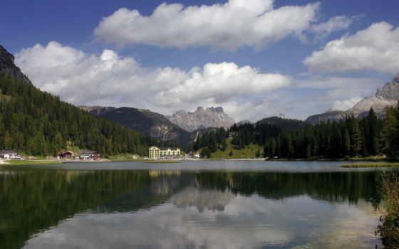 небо, озеро, природа