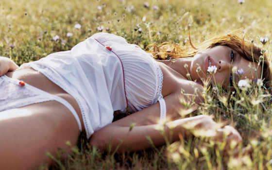 девушка, траве, разных, разрешениях, лежащая,
