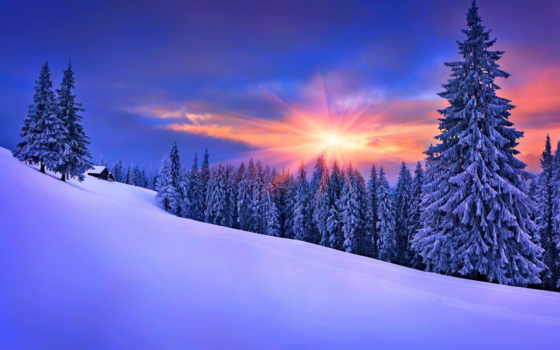 winter, природа, снег, house, небо, landscape, white,