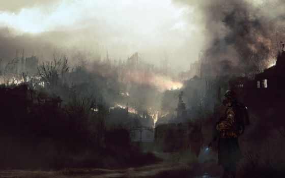 город, огонь, разрушенный, рисованные, browse,