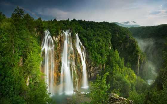 лес, mountains, природа, долина, trees, landscape, водопад, дерево, радуга,