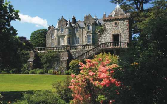 castle, summer, стена, cvety, великобритания, trees, лестница, замки,