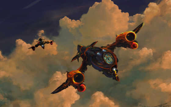 art, fantasy, artwork, concept, spaceship, ships, clouds, spaceships,